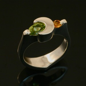 Crescent Moon Ring - Peridot and Citrine