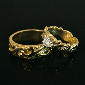 Diamond and gold rings