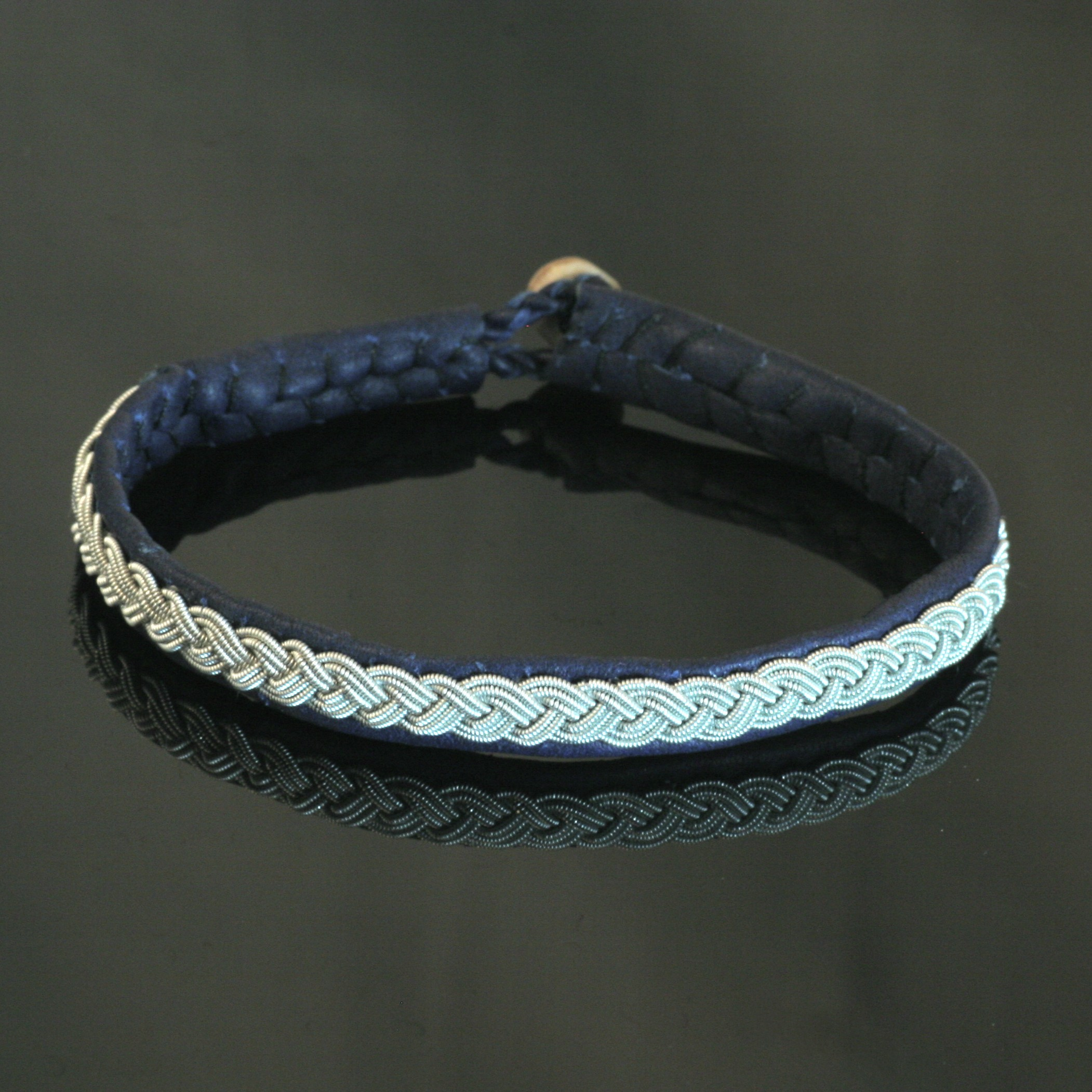 Pewter Thread Bracelet - Blue