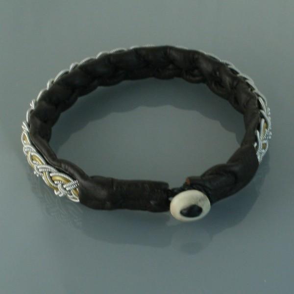 Pewter Thread Bracelet Brown