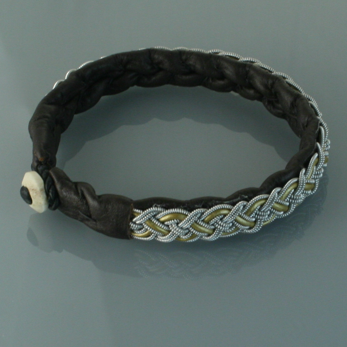 Pewter Thread Bracelet Brown
