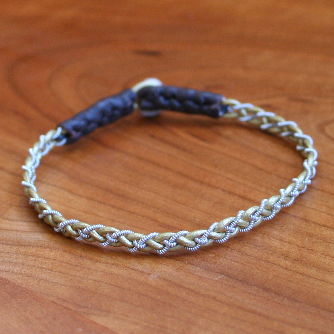 Mini Pewter Thread Bracelet brown