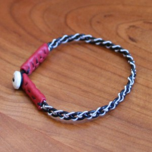 Mini Pewter Thread Bracelet red