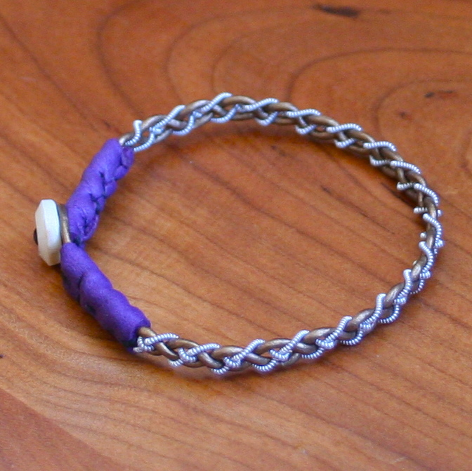 Mini Pewter Thread Bracelet (purple ends)