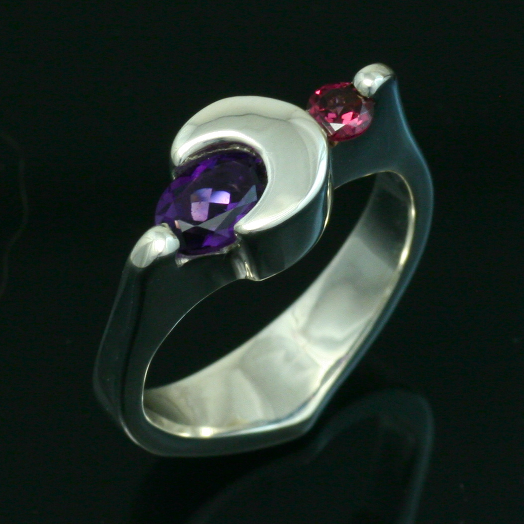 Amethyst and Garnet Crescent Moon Rings