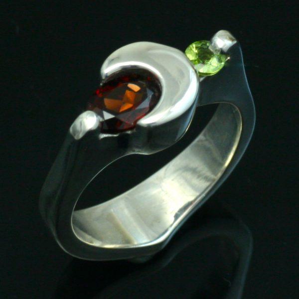 Garnet and Peridot - Crescent Moon Ring