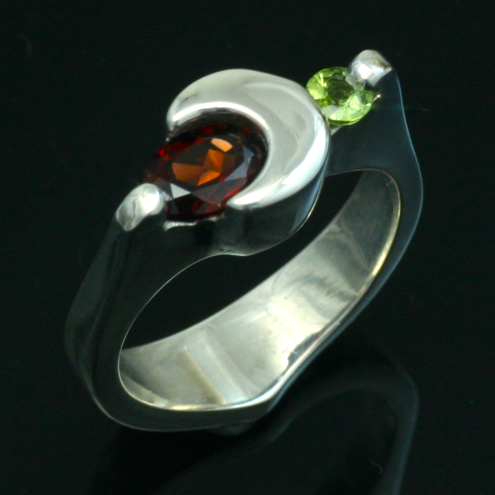 Garnet and Peridot - Crescent Moon Ring