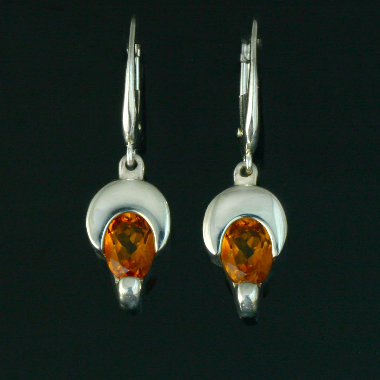 Citrine Crescent Moon Earring