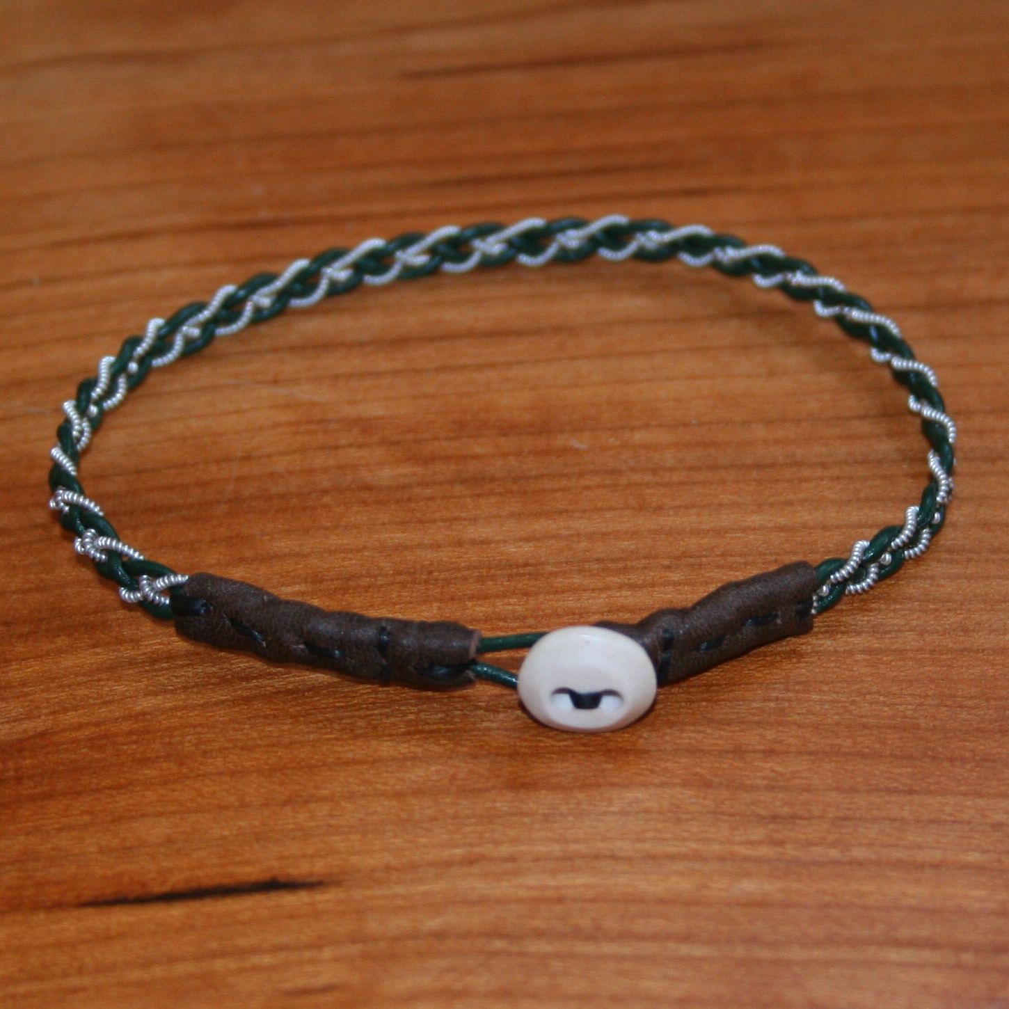 Mini Pewter Thread Bracelets (brown ends)